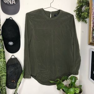 Madewell Olive Green Quilted Silk Blouse Size XS